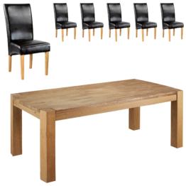 Essgruppe Goliath/Tom (100x200, 6 Stühle, schwarz)