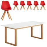 Essgruppe Hanstholm/Blokhus (90x190, 6 Stühle, rot)