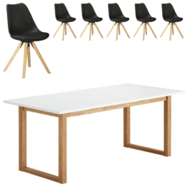 Essgruppe Hanstholm/Blokhus (90x190, 6 Stühle, schwarz)