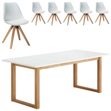 Essgruppe Hanstholm/Blokhus (90x190, 6 Stühle, weiß)
