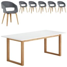 Essgruppe Hanstholm/Holstebro (90x190, 6 Stühle, anthrazit)