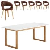 Essgruppe Hanstholm/Holstebro (90x190, 6 Stühle, braun vintage)