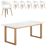 Essgruppe Hanstholm/Holstebro (90x190, 6 Stühle, weiß)