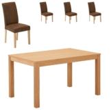Essgruppe Himmerland/ Tureby (140x90, 4 Stühle, braun)
