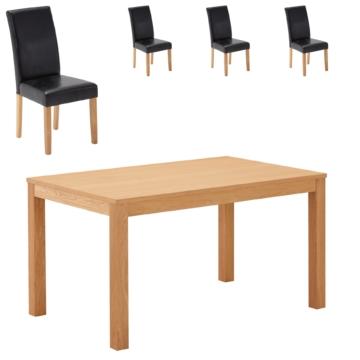 Essgruppe Himmerland/Tureby (140x90, 4 Stühle, schwarz)
