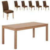 Essgruppe Himmerland/Tureby (180x90, 6 Stühle, braun)
