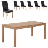 Essgruppe Himmerland/Tureby (180x90, 6 Stühle, schwarz)
