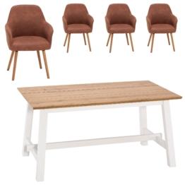 Essgruppe Holsted/Toreby (160x95, 4 Stühle, vintage cognac)