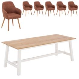 Essgruppe Holsted/Toreby (220x95, 6 Stühle, vintage cognac)
