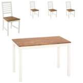 Essgruppe Hornsyld/Fanø (70x115, 4 Stühle, creme-weiß)