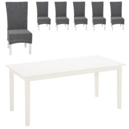Essgruppe Lakolk/Rio (90x180, 6 Stühle, grau)