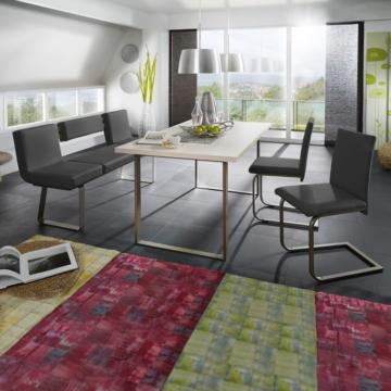 Essgruppe Lamar (4-teilig) - Schwarz / Edelstahl / Weiß, loftscape