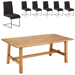 Essgruppe Lendrup/Move (200x95, 6 Stühle, anthrazit)
