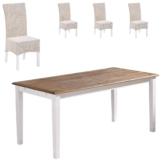 Essgruppe Paris/Rio (85x140, 4 Stühle, weiß)