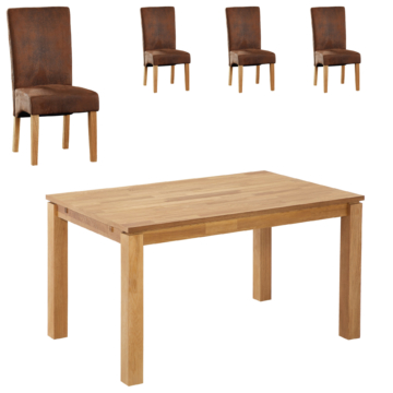 Essgruppe Royal Borg/Tom (90x140, 4 Stühle, antikbraun)