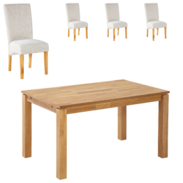 Essgruppe Royal Borg/Tom (90x140, 4 Stühle, beige)
