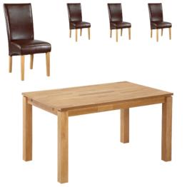 Essgruppe Royal Borg/Tom (90x140, 4 Stühle, braun)