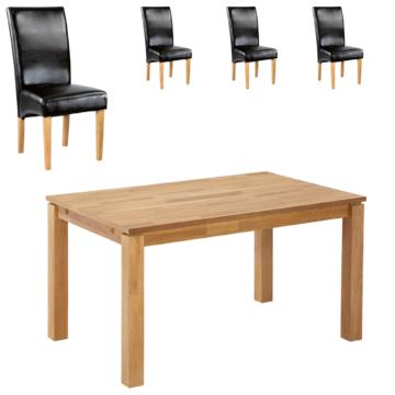 Essgruppe Royal Borg/Tom (90x140, 4 Stühle, schwarz)