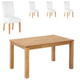 Essgruppe Royal Borg/Tom (90x140, 4 Stühle, weiß)