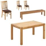 Essgruppe Royal Oak (180x90, 1 Bank, 3 Stühle, braun)