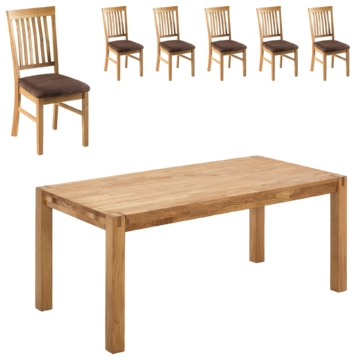 Essgruppe Royal Oak (180x90, 6 Stühle, braun)
