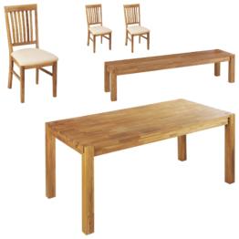 Essgruppe Royal Oak (90x180, 3 Stühle, beige, 1 Bank)