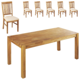 Essgruppe Royal Oak (90x180, 6 Stühle, beige)