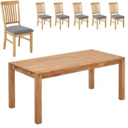 Essgruppe Royal Oak (90x180, 6 Stühle, grau)