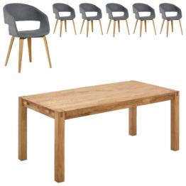 Essgruppe Royal Oak/Holstebro (180x90, 6 Stühle, anthrazit)