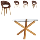 Essgruppe Saskia/Holstebro (ø118,5, 4 Stühle, braun)
