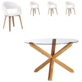 Essgruppe Saskia/Holstebro (ø118,5, 4 Stühle, weiß)
