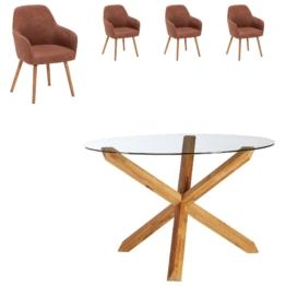 Essgruppe Saskia/Toreby (75xø118,5, 4 Stühle, vintage cognac)