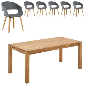Essgruppe Silkeborg/Holstebro (90x180, 6 Stühle, anthrazit)