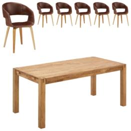 Essgruppe Silkeborg/Holstebro (90x180, 6 Stühle, braun vintage)
