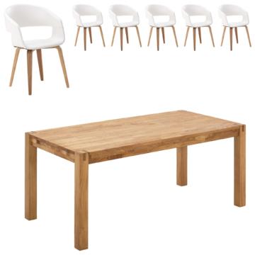 Essgruppe Silkeborg/Holstebro (90x180, 6 Stühle, weiß)