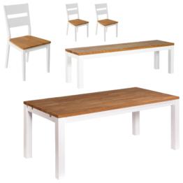 Essgruppe Skagen (90x180, 3 Stühle, Bank)