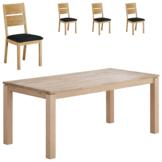 Essgruppe Skanderborg/ Slagelse (90x180, 4 Stühle, natur hell geölt)
