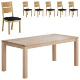 Essgruppe Skanderborg/ Slagelse (90x180, 6 Stühle, natur hell geölt)