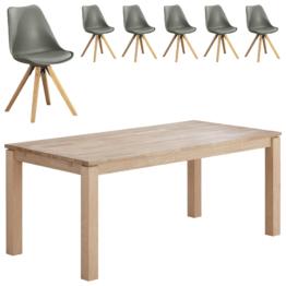Essgruppe Skanderborg/Blokhus (90x180, 6 Stühle, grau)