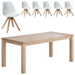 Essgruppe Skanderborg/Blokhus (90x180, 6 Stühle, weiß)