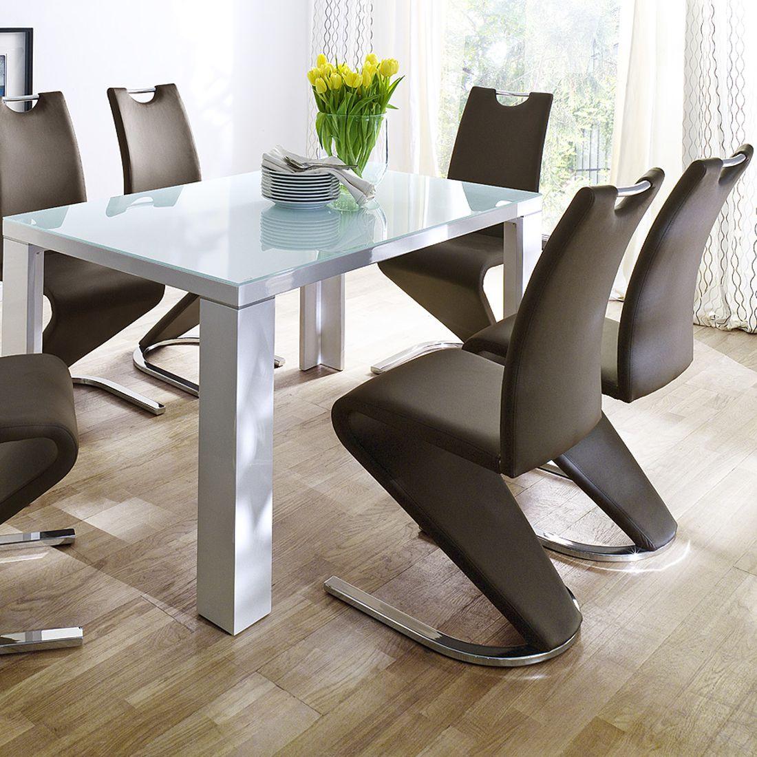 essgruppe tizio 7 teilig glas wei hochglanz kunstleder braun bellinzona m bel24 online. Black Bedroom Furniture Sets. Home Design Ideas