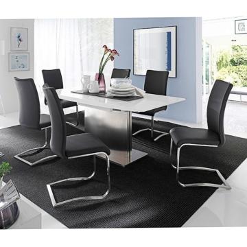 Essgruppe Uberto(7-teilig) - Glas Weiß - Kunstleder Schwarz, loftscape