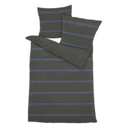 Fein-Biber-Bettwäsche Blauer Streifen (155x220, grau-blau)