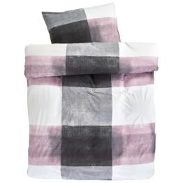 Jersey-Bettwäsche (135x200, rosa-grau)