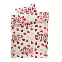 Linon-Bettwäsche Herzen/Love (135x200, rot-weiß)