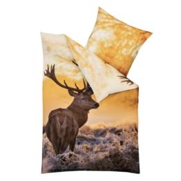 Mako-Satin-Bettwäsche Morning Deer (135x200)