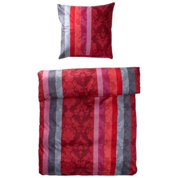 Mako-Satin-Bettwäsche Over (135x200, grau-rot)