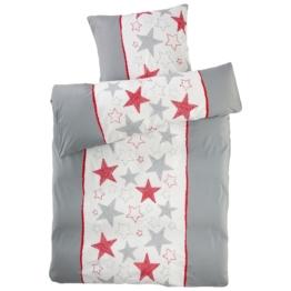 Micro-Biber-Bettwäsche Sternenstreifen (135x200, grau-rot)
