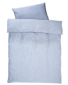 Perkal-Satin-Bettwäsche Streifen (135x200, blau-weiß)