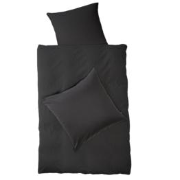 Satin-Bettwäsche Raie (135x200, schwarz)